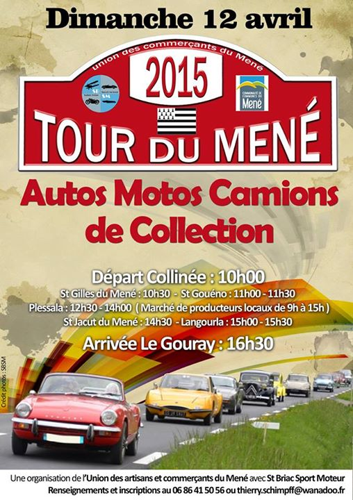 Affiche du tour du Méné en voitures de collection