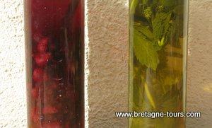 Alcool de framboises et cassis et alcool de menthe maison