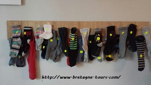 Idée de calendrier de l'avent récup avec des chaussettes