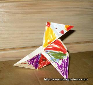 Cocotte-en-papier faite par un enfant de 7 ans
