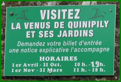 Horaires de visite de la Vénus de Quinipily