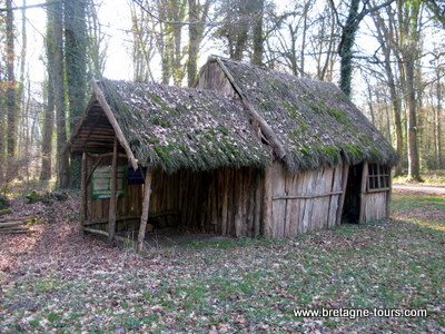 Habitat traditionnel d'un sabotier dans la forêt